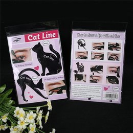 Wholesale Matte Eyeliner - Newest Cat Line Cat Eyeliner Stencil Cat Line Matte PVC Material Repeatable Use Eyeliner Template Plate DHL free shipping