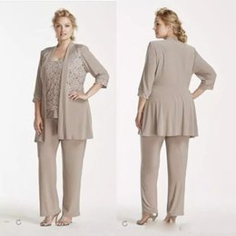 Wholesale Mothers Wear - Vintage Champagne Gray Three Pieces Mother Of the Bride Suits Plus Size Lace Chiffon Mother of the Bride Dresses Formal Wear Pant suit cheap