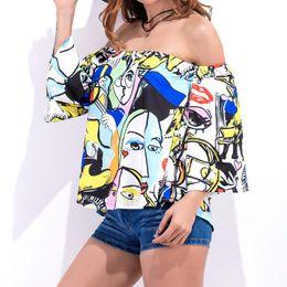 Wholesale Womens Fashion Top Off Shoulder - Womens Blouses 2018 Blouses Half Sleeve Slash Neck Casual Tops Ladies Off Shoulder Backless Print Shirts
