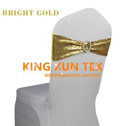 Wholesale Wholesale Spandex Chair Sashes - 100pcs Sequin Lycra Spandex Chair Band Sash With Buckle For Wedding Chair Cover Decoration Free Shipping