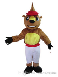 Wholesale Squirrel Mascot Adult Costume - SX0724 Good vision and good Ventilation a squirrel mascot costume with red hat for adult to wear