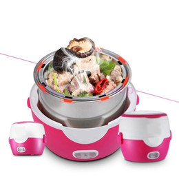 Wholesale Double Layer Pot - MINI rice cooker heating electric 2 double layers lunch box insulation Steamer multifunction automatic Food Container 1.3L