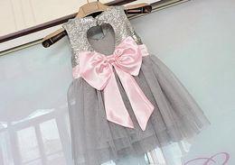 Wholesale Tulle Heart Wholesale - Girls Sequins princess dress 2016 new kids back love heart Bows tulle tutu dress girls gray sequins party dress children's days dress