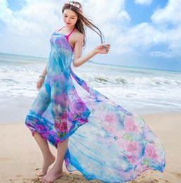 Wholesale Chiffon Scarf For Dress - Beach Bikini Shawl Floral Scarf Silk Tulle Bohemian Dresses Sexy Beach Swimwear for Women Colorful Sheer Chiffon Cover up Wrap 20 Styles