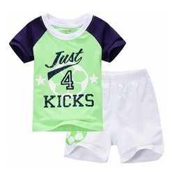 green football clothing Coupons - Football Children Clothes Sets Green T-Shirt White Short Pants Knickers 100% Cotton Boys Suits Free Shipping