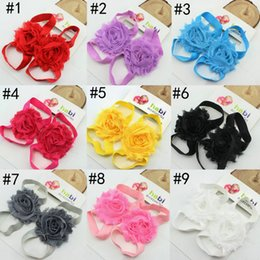 Wholesale Infant Barefoot Shoe - Toddler baby sandals chiffon flower shoes cover barefoot foot flower ties infant children girl kids first walker shoes Photography props