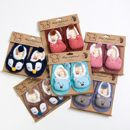 Wholesale Baby Branded Shoes Wholesale - Baby Floor Socks Winter Kids Skidproof Cotton Shoes Socks Coral Fleece Warm Footgear 3D Cartoon Bear Anti-slip Sole Sock Free DHL 519