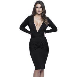 Wholesale Slinky Black Sexy Dress - 2016 Women Sexy Black Dress Long Sleeve Black Blue Slinky Knotted Long Sleeve Knee Length Dress
