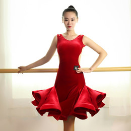 Wholesale Salsa Dresses For Women - women professional Exquisite Wine red velvet one piece dress for latin rumba samba salsa dance competition performance show