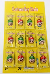 Wholesale Wholesale Mario Bros Toys - 8 sheets 96Pcs Super Mario Bros- Mario Luigi Yoshi Keychains Key Chains Pendants Toys