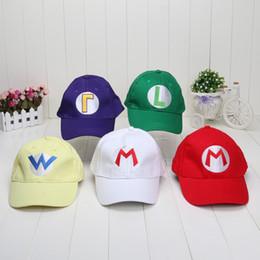 Wholesale Baseball Games Toys - 50pcs Super Mario Bros Baseball Hat Caps Set Of 5 Red Mario Green Luigi Hats free shipping