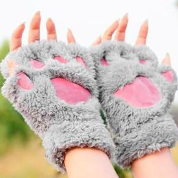 Copre l'artiglio online-Donna Inverno Fluffy Bear / Cat Plush Paw / Claw Glove-Novità guanti da donna morbidi spugna copriletto guanti San Valentino Regalo