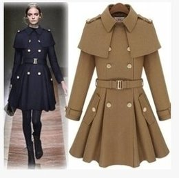 Wholesale Cape Shawl Trench - 2017 New monde slim Star model Cape type women's trench coats The shawl with skir Women Outwear Cape-style woolen coat