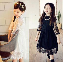 Wholesale Kids Girls Korea Fashion - Spring Summer Girls Lace Dress Korea Fashion Middle Sleeve Ball Gown Tutu Party Dress Kids Princess Dress Children Casual Dresses 11404