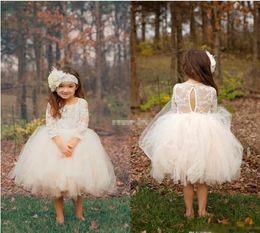 Wholesale Tea Length Ball Skirts - Cute Ball Gown Boho Country Wedding Flower Girl Dresses Illusion Long Sleeve Tulle Skirts Tea Length 2017 Cheap Baby Kids Communion Dresses