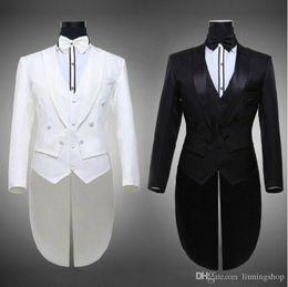 Wholesale Wedding Tailcoat Suit - Hot 2016 Tailcoat Groom Tuxedos Best Man Groomsmen Men Wedding Suits Notch Lapel Performance Suit Black & White (Jacket+Pants+Tie+Vest