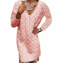 Wholesale Donna Gray Dress - Wholesale- Women Midi Twist Knitted Pink Sweater Gray V Neck Pullover Long Sleeve Split High-Low Hem Loose Autumn Dress Knit Maglioni Donna