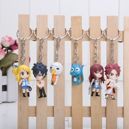 Wholesale Anime Figure Fairy Tail - 6pcs set anime fairy tail anime keychain used by pvc 6pcs set 3-5cm figures baby doll Retail hot sale