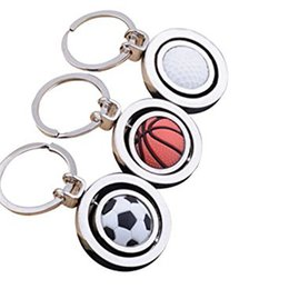 ball chain keychains Coupons - 3 Styles Cool 3D Rotary Soccer Basketball Golf Metal Pendant Key chain Originality Gift Gadget KeyChain B600Q