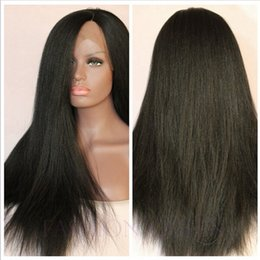 Wholesale Kinky Free Parting Lace Wig - Fast shipping yaki kinky straight hair lace front wig synthetic hair long black wig for black women free part natural hairline