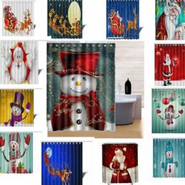 Cortina de navidad de diseño online-20 diseño de Navidad Muñeco de nieve Cortina de Ducha Poliéster Impermeable Cortina de Baño Decoración de Navidad Cortina de Ducha Doméstica 165 * 180 cm LJJK769