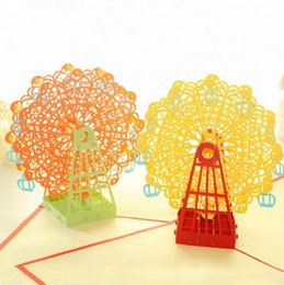Wholesale Handmade Souvenirs - DIY 3D Greeting Card With Envelope Pop Up Cute Birthday Gift Cards Ferris Wheel Valentine' Day Handmade Souvenir 10pcs  lot