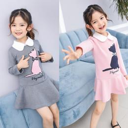 Wholesale Korean Beautiful Dresses - Korean Girls Dresses Long Sleeve Cartoon Cat Cute Girl Dress 4pcs lot 3-7T Preppy Style Beautiful Girl's Party Dress Grey Pink Navy A7532