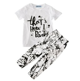 Wholesale Toddler Boys Party Clothes - Wholesale ins Boys Girls Baby Childrens Clothing Sets Thats how i party Short Sleeve tshirts Graffiti Pants Jumpers Toddler Kids Clothes