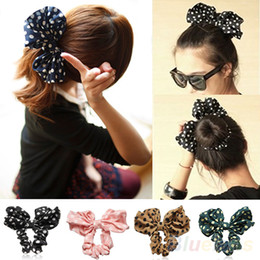 Wholesale Korean Ponytail Style - Lovely Big Rabbit Ear Bow Headband Headwear Hair Ribbons Ponytail Holder Hair Tie Band Korean Style Women Accessories 1NV3