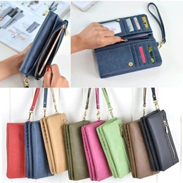 Wholesale Iphone Blue Coin Case - Wallet with Slots Multifunctional Luxury Leather Wallet Case for iphone 8 7 plus 6s Coin Pocket Zipper Mobile Phone Bag Women Wallets Long