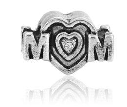 Wholesale Mom European - Fits Pandora Bracelets 10pcs Mom Charms Beads Silver Charms Bead For Wholesale Diy European Necklace Jewelry Accessories