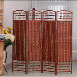 Wholesale Room Screen Divider - Decorative Freestanding Black & Brown Woven Design 4 Panel Wood Privacy Room Divider Folding Screen