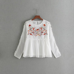 Wholesale Office Girl White Shirt - Women Flower Shirts Girls Floral Emboidery Blouses Lady O-Neck Loose Tops 2017 Autumn Female Long Sleeve Tshirt Clothing Office Femme Blusas