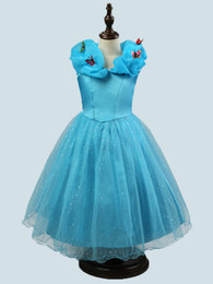 Wholesale Wedding Dresses Cinderella Style - 2016 Summer Baby Girl Cinderella Party Dress Wedding Princess Cosplay Gown Butterfly Paillette Cinderella Dress free shipping