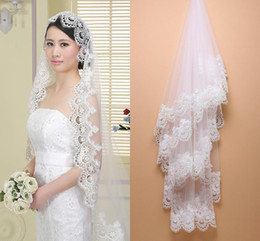 Wholesale Cheap Lace Yarn - 2016 Cheap In Stock White Ivory Cathedral Wedding Veils Lace Edge One Tier Church Bride Accessories Cheap Long Bridal Veils CPA554