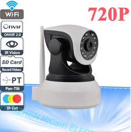 Wholesale Wireless Sd Card Security Cameras - P2P IP Camera 720P HD Wifi Wireless Baby Monitor PTZ Security Camera ONVIF Cloud Night Vision Micro SD Card