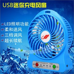 Wholesale Usb Rechargable Batteries - USB mini Protable Fan Rechargable Table Plantain Fan LED Light Battery Adjustable 3 Speeds F95B Mini Fans with cable for computer iphone 7