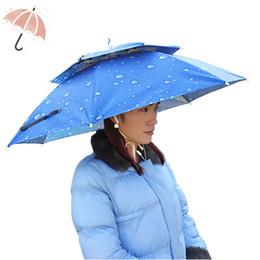 Wholesale Sunny Hats - Wholesale 360 degree All round Umbrella hat double layer outdoor anti-uv umbrella cap windproof umbrella hat for fishing