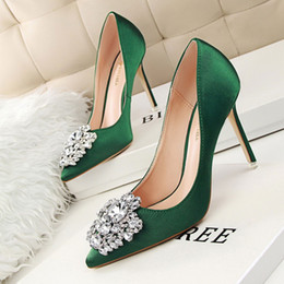 Wholesale Green High Wedges - Beautiful Lady Dress Shoes Rhinestone Design Women Pointed Toe Thin High Heels Satin Sexy Party Festival Wedding Shoes Women Pumps