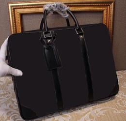 Wholesale Laptop Shoulder Bag Handle - 2016 real leather Luxury Brand Name Mens Shoulder Bag Famous Brand Mens Briefcase Real Leather Men Bags HIgh Quality Men Laptop Bag N41125