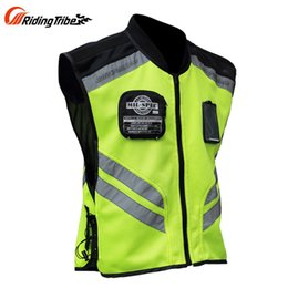 Wholesale Reflective Motorcycle Jackets - Riding Tribe Reflective Desgin Waistcoat Clothing Motocross Off-Road Racing Vest Motorcycle Touring Night Riding Jacket