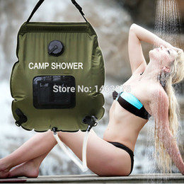 Wholesale Portable Water Backpack - camp shower 20L portable Outdoor with thermometer 2016 new shower bag Solar Shower Water Bag Camping showers free shipping