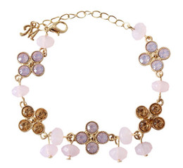 Wholesale Stone Metal Claw - Hot Four-leaf Clover Bracelets for Girls Pink Glass Clover Charm Bracelet Metal Four-Leaf with Opal Glass Stones Beaded Leaves Charms