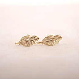 Wholesale Gold Plated Feather Wholesale - Wholesale New Fashion Gold Silver Rose Gold Plated Trendy Fallen Leaves Studs Earrings for Women Simple Women Feather Earrings Jewelry
