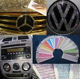 Decalcomanie di strass online-30PCS / lot Diamante DIY adesivi per auto Decalcomanie 3mm decorazione striscia Bling strass per la decorazione auto sacchetto anche colori mix
