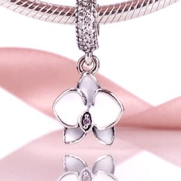 Wholesale Jewellery New Designs - DIY Jewellery White Orchid Pendant Charm Fit Bracelet & Bangle For Woman Making Jewelry 2017 Summer New Design 791554EN12