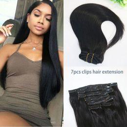 Wholesale Cheap Clip Lights - Cheap clip in human hair extensions 70g set full head brazilian virin remy hair extensions natural color clip in