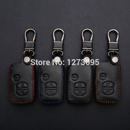 Wholesale Toyota Wallet Key - Hand-stitched Leather Car Key Cover for Toyota Camry Highlander Prado Crown Land Cruiser Prius vitz Hand Sewing Case Bag Wallets