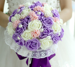 Wholesale Wedding Bouquets Pink Roses - 2016 artificial wedding bouquets Holding Flowers Purple Pink Romantic Rose Artificial Flowers with Pearls Bridal Bouquet Gift Corsage