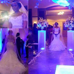 Wholesale Lace Silk Wedding Dress Sleeves - Romantic Vestidos De Noiva Crystal Beaded Lace Mermaid Wedding Dress 2016 Court Train Short Sleeve Bridal Gowns Robe De Mariage